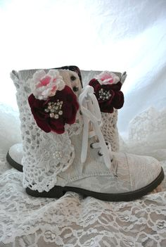 Combat boots Embellished lace boots winter by TrueRebelClothing, $74.00