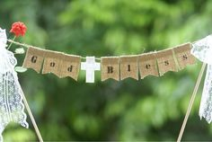 Christening, baptism, first communion, confirmation cake topper, cake banner,Party Decoration,Burlap Banner,With lace bows.
