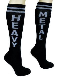 Black and Grey Heavy Metal Athletic Knee Socks Hard Rock Gift Clothing
