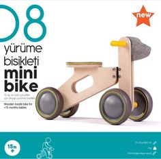 Mini bike is a wooden toddler bike. With big wheels this ride-on enables your kid to scoot along in any direction, turning freely as they explore. SIZE: 33 x 53 x cm WEIGHT: kg MATERIAL: natural wood wood Este artículo no está disponible Mini Bike, Toddler Bike, Wood Bike, Cnc, Big Wheel, Wood Toys, Baby Month By Month, Kids Furniture, Wood Crafts