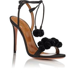 """Aquazzura Women's """"Pon Pon"""" Ankle-Tie Sandals ($825) ❤ liked on Polyvore featuring shoes, sandals, embellished sandals, black high heel sandals, braided leather sandals, woven leather sandals and black leather shoes"""