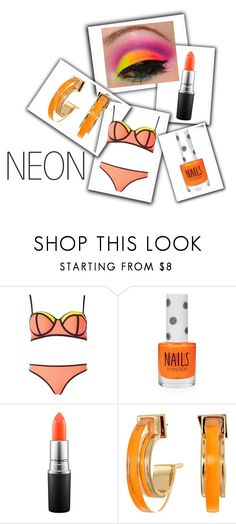 """Bright Eyes : Neon Beauty contest"" by empathetic ❤ liked on Polyvore featuring beauty, South Beach, Topshop, MAC Cosmetics and Alexis Bittar"