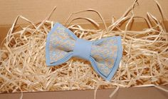 Embroidered blue bow tie Beige pattern Men's bow от accessories482