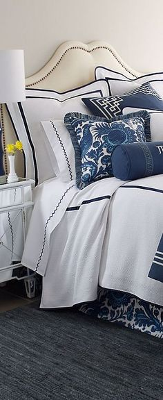 Love this crisp bad rain with blues and whites! Unfortunately, the mostly white comforter would be very impractical our lifestyle – especially with four pets Who rule our home!
