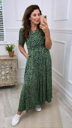 Animal print wrap dress, green wrap dress, wrap dress, summer wrap dress, maxi dress