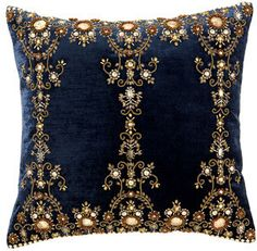 Blue velvet and gold beading make this pillow enchanting.
