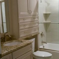 Classy over commode storage    Small Bathroom Design, Pictures, Remodel, Decor and Ideas - page 15
