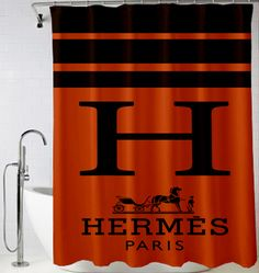 Hermes Paris logo art Shower Curtain