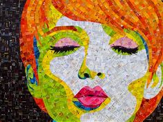 Artist Sandhi Schimmel Gold pop art collage portraits from junk mail. Portraits Pop Art, Collage Portrait, Mosaic Portrait, Art And Illustration, Illustrations, Art Pop, Art Altéré, Art Du Collage, Face Collage