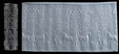 Kassite cylinder seal, obsidian, 1350-1200 B.C. Superbly engraved with a standing man holding two horses, large area above the main scene with a seven-line inscription in Babylonian cuneiform identifying this as the Seal of Kur-Shugab, son of Tunami-Sah, whose god is Irhan, and whose goddess is Belet-Akkadî, he gave it to his son, Urkat-yazi, the vizier, with line borders above and below, 5.8 cm long. Private collection