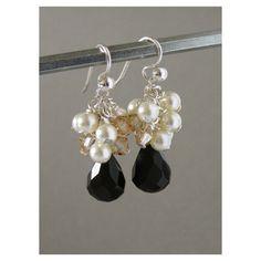 Black & White Swarovski Drop Earrings $33.58 #jewelry #earrings #dangle…