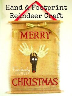 This hand and foot-printed reindeer decoration would make a great gift for a grandparent or teacher, or would be a great keepsake for your own home. It is also a fun activity to do with your children.
