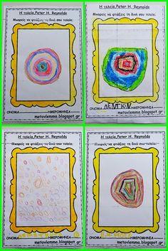 Με το βλέμμα στο νηπιαγωγείο και όχι μόνο....: Η τελεία του Peter H.Reynolds Peter Reynolds, Dots, Teaching, Frame, Decor, Stitches, Picture Frame, Decoration, Education