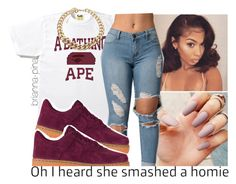 """""""@brianna-pina"""" by faire-mulla ❤ liked on Polyvore featuring A BATHING APE and NIKE"""