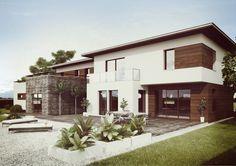 Projekt elewacji nowo wybudowanego domu jednorodzinnego w Szwecji.