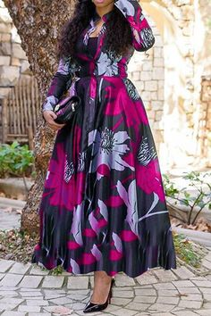 Latest African Fashion Dresses, African Dresses For Women, African Attire, Ankara Fashion, African Women, Maxi Dress With Sleeves, Floral Maxi Dress, The Dress, Classy Dress
