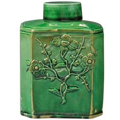1stdibs.com | A Green Glazed  Staffordshire Tea Canister ca. 1765