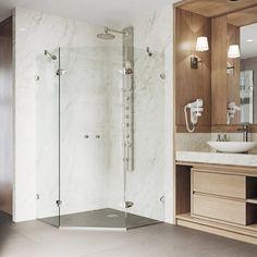 "VIGO Gemini 40"" W x 73.37"" H Neo-Angle Hinged Shower Enclosure & Reviews | Perigold Modern Shower, Modern Bathroom, Small Bathroom, Master Bathroom, Modern Bathtub, Bathroom Ideas, Corner Shower Enclosures, Neo Angle Shower, Frameless Shower Doors"