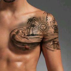 Tropisches Tattoo, Surf Tattoo, Ocean Tattoos, Chest Tattoo, Beach Tattoos, Tattoo Thigh, Trendy Tattoos, Tattoos For Guys, Cool Tattoos