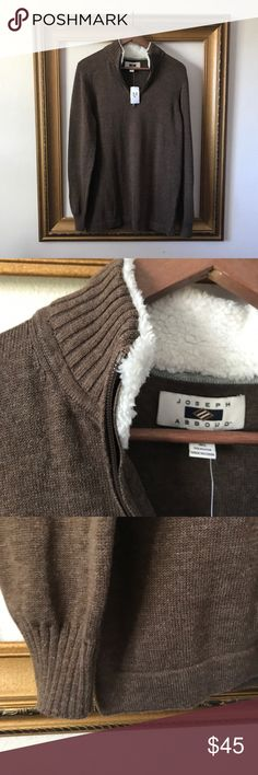 NWT Joseph Abboud brown 1/4 zip pullover sweater New with tags! $99.99. Men's wearhouse. Brown Sherpa fuzzy collar. 1/4 zip. Pullover. Sweater. 19 inches armpit to armpit. 28 inches shoulder to bottom of sweater. 19 inches armpit to end of sleeve. joseph Abboud Sweaters
