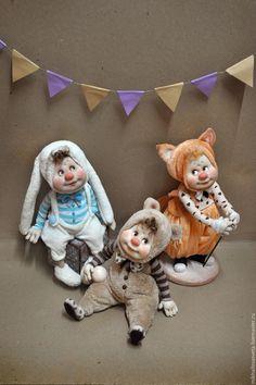 Купить Мишаня,Алиса,Сема - комбинированный, подарок, подарок девушке, кукла…