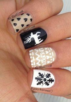 Winter print nails! Photo via @JUST1NAIL