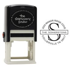 Center Initial with Text Self-Inking Stampers