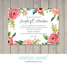 Watercolor Wedding Invitation $12.00 by Vintage Sweet Designs on Etsy vintagesweetdesign.etsy.com peach | blush | invitation | floral | vintage | beach wedding | spring wedding | arrow | diy | printable | reception | heart | fall wedding | watercolor | painted