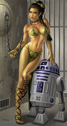 Slave Leia with Droid by stardriv.deviantart.com on @deviantART...LOVE this... not a huge fan of the face itself but the body was done amazingly!!!