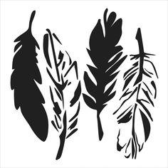 TCW - Mini 4 Feathers Stencil (6x6)