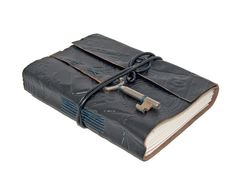 Embossed Black Leather Journal with Skeleton Key by boundbyhand, $33.00
