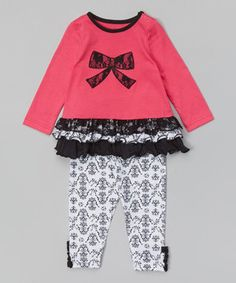 Pink & Black Bow Tunic & Leggings - Infant by Buster Brown #zulily #zulilyfinds