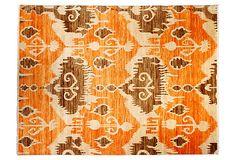 "9'1"" x 12' Aryan Rug, Tangerine/Mocha on OneKingsLane.com"
