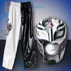 WWE Rey Mysterio Black & White Replica Kid Size Mask & Pants Combo Deal by Figures Toy Co. $129.00. For children ages 8 & up. Molded directly from Rey Mysterio's actual clothing. Made of faux leather, pants measure approximately 39 inches long and fit anywhere from a 28 inch to a 32 inch waist with an adjustable drawstring waist. Mask is one size fits all.