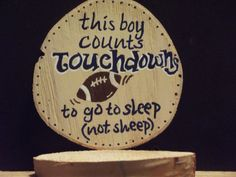 Football Expression for little boy's room handpainted on Maine birch wood on Etsy, $15.00