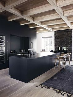 #kitchen #blackkitchen | Zwarte keuken.