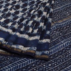 Bagru Printed Indigo Blue Chanderi Silk Cotton Saree With Floral Motifs From Wraps By Purva 10011211 - AVISHYA.COM