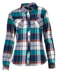0165175e Natural Reflections Long-Sleeve Flannel Shirt for Ladies - Navy Plaid - L Plaid  Flannel