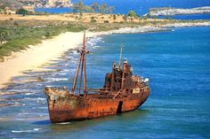 The Dimitrios is beached near the city of Gytheio. Gytheio : (Greek, Modern: G??e??, Ancient/Katharevousa: G??e???) (Meaning: Land of the Gods), also Gythio, Githeio, Githio or Yithion is a town in the prefecture of Laconia in Greece, long known as the seaport of Sparta some 40 km away. Gytheio used to be an important port for many centuries until it was destroyed by an earthquake.