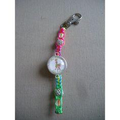 Porte-clés personnalisé, fil multicolore perles blanches