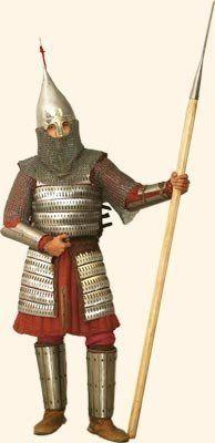 В XI—XII веках основу конного войска составляли тяжеловооруженные всадники-копейщики. В снаряжение такого воина входили одно или два копья, сабля либо меч, сулицы или лук со стрелами, кистень, булава, реже боевой топорик, а также оборонительный доспех, к которому относится известный уже с XI века чешуйчатый панцирь.
