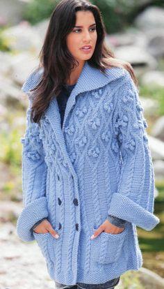 Пальто с косами и ромбами с шишечками | Шкатулочка для рукодельниц