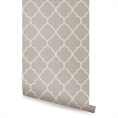 Moroccan Warm Grey peel & stick fabric wallpaper. This re-positionable wallpaper is designed and made in our studios in New Jersey. The designs are printed onto an adhesive backed fabric that can be removed, repositioned and reused over and over again. They do not leave any residue on your walls and are ideal for DIY room makeovers without the mess and headaches of traditional wallpaper.   Fabric wallpaper, adhesive backed fabric, peel and stick wallpaper, repositionable wallpaper, remova...