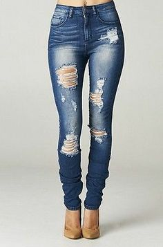 High Rise Destroyed Skinny Jeans Ripped Womens Dark Blue Denim waist distressed