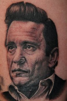 Johnny Cash Portrait Tattoo by Phil Colvin #tattoo #tattoos