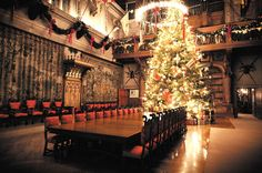 The majestic 35-foot Fraser fir tree takes center stage in the Biltmore House Banquet Hall. [Photo: The Biltmore Company]