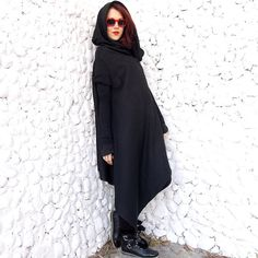 ON SALE 40% OFF Asymmetric Extravagant Black Coat / by Teyxo