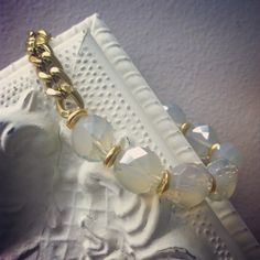Faceted milky crystal and chain bracelet by jewelsdejuliet on Instagram and Facebook