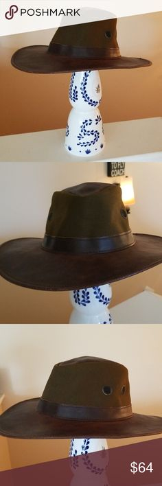 96ce5594813 Henschel Indiana Jones Unisex Leather Canvas Hat M Very nice brown leather  hat w army green