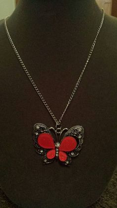 $5 Deal! Shimmering red butterfly with rhinestones long necklace.